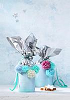 Handmade, festive gift containers made from tin ca