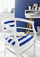 White-painted wooden chair with blue and white str
