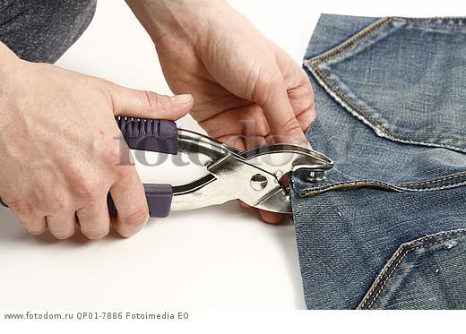 как установить пуговицу заклепку на джинсы