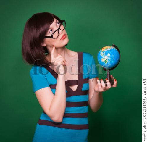 Happy geography teacher young woman hold globe and smlie