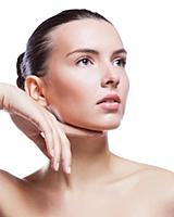 Beautiful face of young adult woman with clean fre
