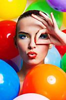 Beauty Girl Portrait with Colorful Makeup, Nail po