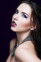 Beauty Makeup. Purple Make-up and Colorful Bright