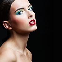 Beauty Girl Portrait with Colorful Makeup