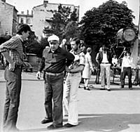 Съемки фильма «Портрет с дождем», (1977). На фото: