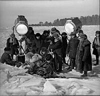 Съемки фильма «Земля Санникова», (1973).