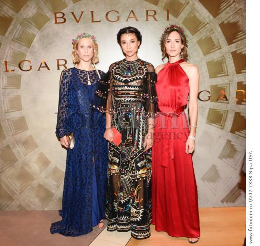 Indre Rockefeller, Lily Kwong, Zani Gugelmann - 10/14/2015 - New York, New York - BVLGARI & ROME: ETERNAL INSPIRATION held at BVLGARI, NYC. (Photo by Neil Rasmus/BFA) *** Please Use Credit from Credit Field ***