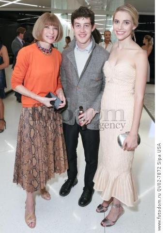 Anna Wintour, Alex Sharp, Wallis Currie-Wood - 10/13/2015 - New York, New York - CFDA x VOGUE: FASHION FUND DESIGN CHALLENGE COCKTAIL held at One World Trade Center, NYC. (Photo by Matteo Prandoni/BFA) *** Please Use Credit from Credit Field ***