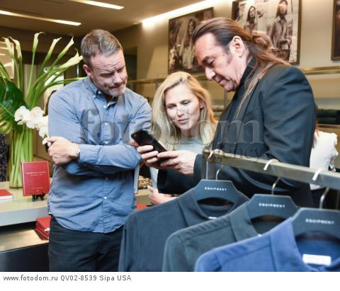 Sean Fay, Michelle Edgar, Nick Chavez - 10/21/2015 - Los Angeles, California - EQUIPMENT & VOGUE WITH LIZ GOLDWYN held at Equipment Boutique, Los Angeles,. (Photo by Owen Kolasinski/BFA) *** Please Use Credit from Credit Field ***