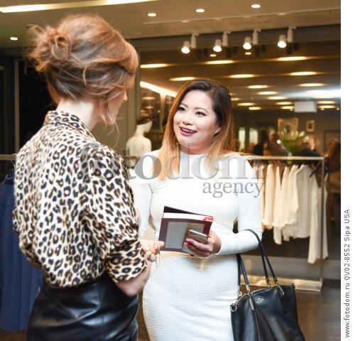 Liz Goldwyn, Xixi Yang - 10/21/2015 - Los Angeles, California - EQUIPMENT & VOGUE WITH LIZ GOLDWYN held at Equipment Boutique, Los Angeles,. (Photo by Owen Kolasinski/BFA) *** Please Use Credit from Credit Field ***
