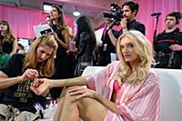Lily Donaldson backstage at the 2015 New York Vict
