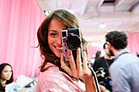 Flavia Lucini backstage at the 2015 New York Victo