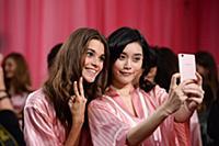 Pauline Hoarau and Ming Xi backstage at the 2015 N