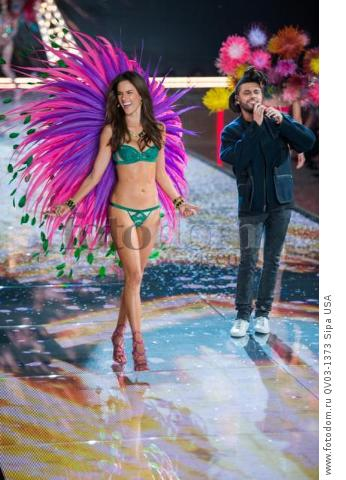 Alessandra Ambrosio and the Weeknd on the runway during the 2015 New York Victoria?s Secret Fashion Show held at the Lexington Armory in New York City on November 10, 2015. (Photo by Anthony Behar) *** Please Use Credit from Credit Field *** *** Please Use Credit from Credit Field ***