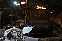 Dhaka 13 January 2016. Workers process animal skin