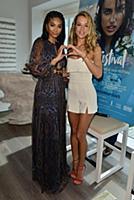 Chanel Iman and Hannah Ferguson attend the press c