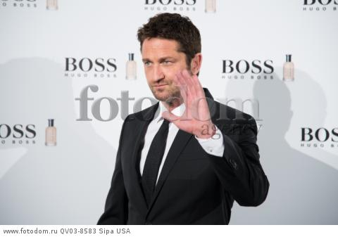 The actor Gerald Buttler attend the photocall of Hugo Boss 'MAN OF TODAY' at Eurobuilding Hotel in Madrid, Spain, on 3rd February 2016. (Photo by Gabriel Maseda/NurPhoto) *** Please Use Credit from Credit Field ***