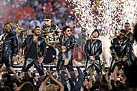 Bruno Mars performs during the halftime show at Su