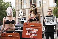 A group of people protest against the use of furs