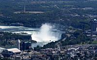 An aerial view of Niagara Falls. Niagara Falls Ont