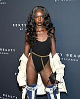 Model Duckie Thot  appears at the launch of beauty