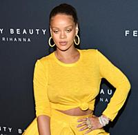 Musician Rihanna appears at the launch of her beau
