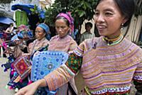 (5/29/2017)  Bac Ha market. Flower Hmong people in