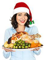 Лайфстайл: Девушка с новогодними закусками