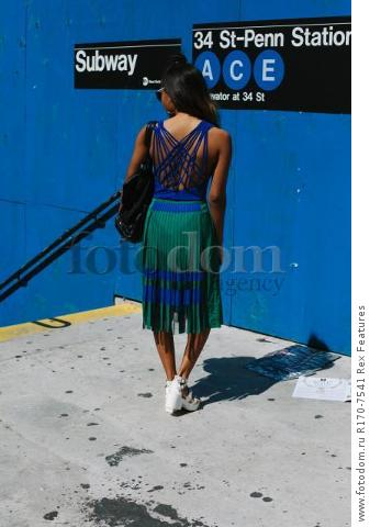 Mandatory Credit: Photo by Liz Devine/WWD/REX Shutterstock (5083791p) Street Style Street Style, Spring Summer 2016, New York Fashion Week, America - 14 Sep 2015