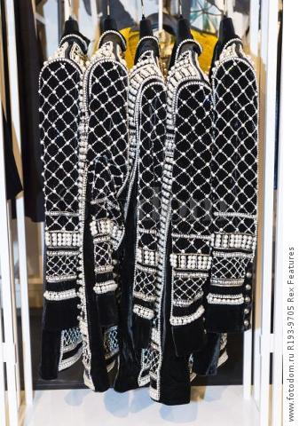 Mandatory Credit: Photo by Ray Tang/REX Shutterstock (5346899aq) A beaded jacket worn by Kendall Jenner Balmain x H&M launch, London, Britain - 05 Nov 2015
