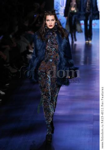 Mandatory Credit: Photo by Amy Sussman/WWD/REX/Shutterstock (8377423g) Bella Hadid on the catwalk Anna Sui show, Runway, Fall Winter 2017, New York Fashion Week, USA - 15 Feb 2017