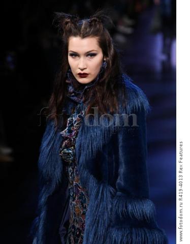 Mandatory Credit: Photo by Amy Sussman/WWD/REX/Shutterstock (8377423i) Bella Hadid on the catwalk Anna Sui show, Runway, Fall Winter 2017, New York Fashion Week, USA - 15 Feb 2017