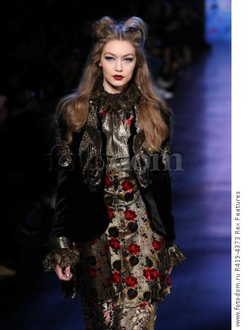 Mandatory Credit: Photo by Amy Sussman/WWD/REX/Shutterstock (8377423aa) Gigi Hadid on the catwalk Anna Sui show, Runway, Fall Winter 2017, New York Fashion Week, USA - 15 Feb 2017