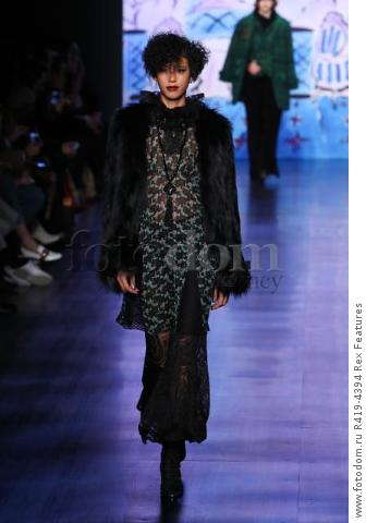 Mandatory Credit: Photo by Amy Sussman/WWD/REX/Shutterstock (8377423av) Model on the catwalk Anna Sui show, Runway, Fall Winter 2017, New York Fashion Week, USA - 15 Feb 2017