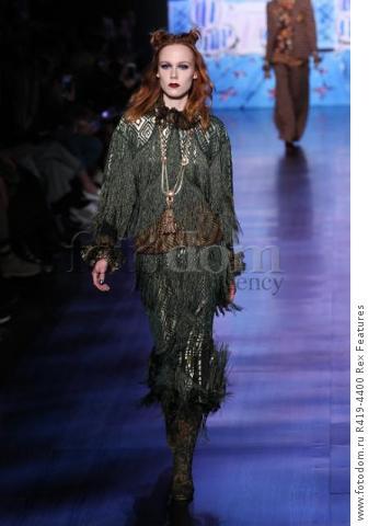 Mandatory Credit: Photo by Amy Sussman/WWD/REX/Shutterstock (8377423bb) Model on the catwalk Anna Sui show, Runway, Fall Winter 2017, New York Fashion Week, USA - 15 Feb 2017