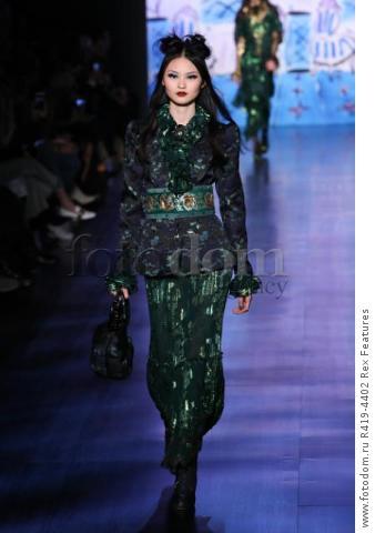 Mandatory Credit: Photo by Amy Sussman/WWD/REX/Shutterstock (8377423bd) Model on the catwalk Anna Sui show, Runway, Fall Winter 2017, New York Fashion Week, USA - 15 Feb 2017