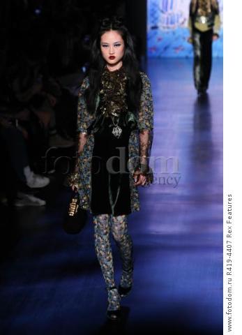 Mandatory Credit: Photo by Amy Sussman/WWD/REX/Shutterstock (8377423bi) Model on the catwalk Anna Sui show, Runway, Fall Winter 2017, New York Fashion Week, USA - 15 Feb 2017