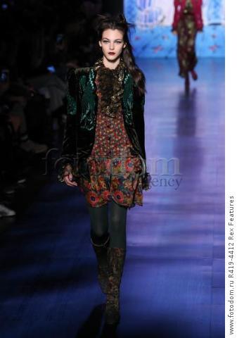 Mandatory Credit: Photo by Amy Sussman/WWD/REX/Shutterstock (8377423bn) Model on the catwalk Anna Sui show, Runway, Fall Winter 2017, New York Fashion Week, USA - 15 Feb 2017