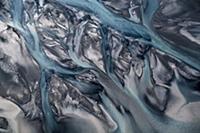 Ледниковые реки с высоты птичьего полета. Исландия