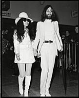 John Lennon And Yoko Ono Arrive At Heathrow Airpor