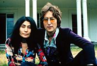 John Lennon and Yoko Ono at their home at Tittenhu