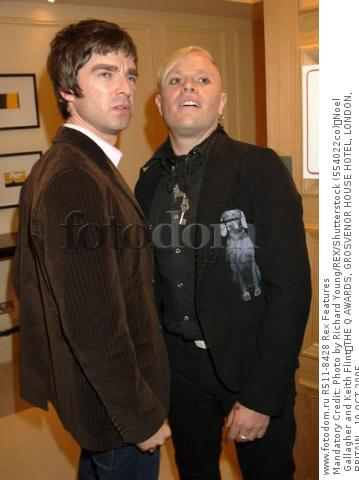 Mandatory Credit: Photo by Richard Young/REX/Shutterstock (554022co) Noel Gallagher and Keith Flint THE Q AWARDS, GROSVENOR HOUSE HOTEL, LONDON, BRITAIN - 10 OCT 2005