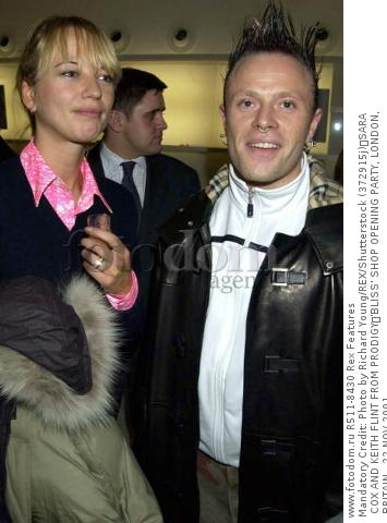 Mandatory Credit: Photo by Richard Young/REX/Shutterstock (372915j) SARA COX AND KEITH FLINT FROM PRODIGY 'BLISS' SHOP OPENING PARTY, LONDON, BRITAIN - 22 NOV 2001