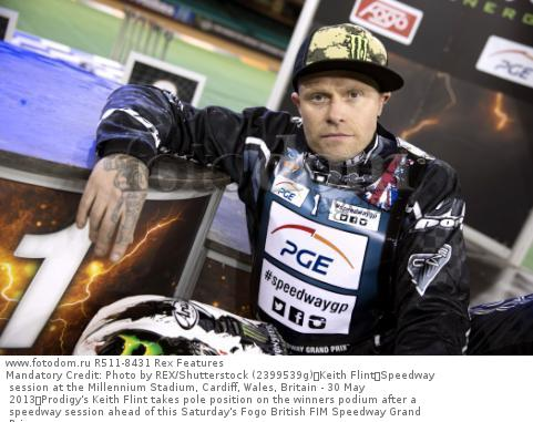 Mandatory Credit: Photo by REX/Shutterstock (2399539g) Keith Flint Speedway session at the Millennium Stadium, Cardiff, Wales, Britain - 30 May 2013 Prodigy's Keith Flint takes pole position on the winners podium after a speedway session ahead of this Saturday's Fogo British FIM Speedway Grand Prix.