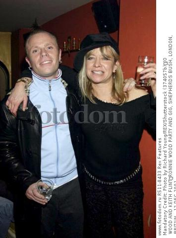 Mandatory Credit: Photo by Richard Young/REX/Shutterstock (374057b) JO WOOD AND KEITH FLINT RONNIE WOOD PARTY AND GIG, SHEPHERDS BUSH, LONDON, BRITAIN - 12 DEC 2001