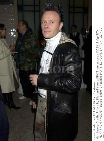 Mandatory Credit: Photo by Richard Young/REX/Shutterstock (372915k) KEITH FLINT FROM PRODIGY 'BLISS' SHOP OPENING PARTY, LONDON, BRITAIN - 22 NOV 2001