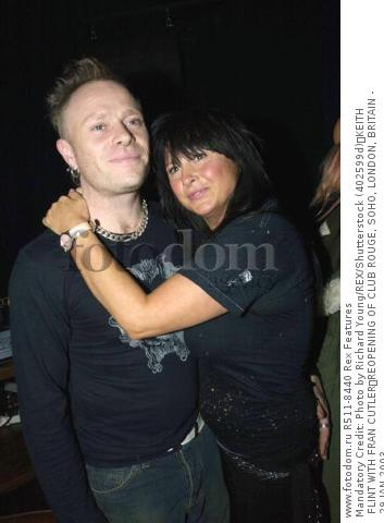 Mandatory Credit: Photo by Richard Young/REX/Shutterstock (402599d) KEITH FLINT WITH FRAN CUTLER REOPENING OF CLUB ROUGE, SOHO, LONDON, BRITAIN - 29 JAN 2003