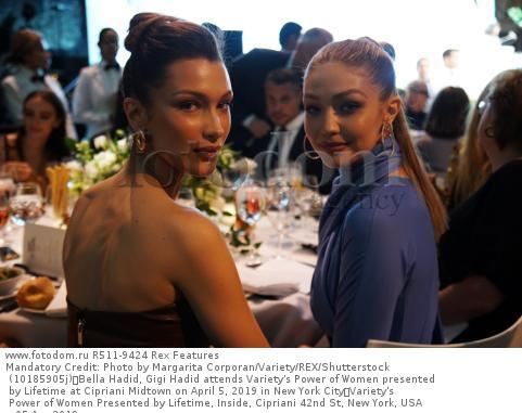 Mandatory Credit: Photo by Margarita Corporan/Variety/REX/Shutterstock (10185905j) Bella Hadid, Gigi Hadid attends Variety's Power of Women presented by Lifetime at Cipriani Midtown on April 5, 2019 in New York City Variety's Power of Women Presented by Lifetime, Inside, Cipriani 42nd St, New York, USA - 05 Apr 2019