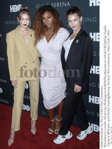 Mandatory Credit: Photo by Mediapunch/REX/Shutterstock (9642745l) Gigi Hadid, Serena Williams and Bella Hadid 'Being Serena' film premiere, New York, USA - 25 Apr 2018