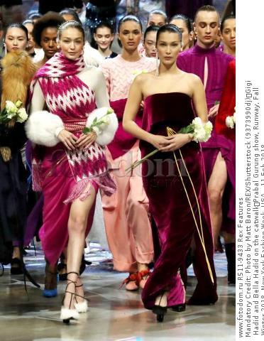 Mandatory Credit: Photo by Matt Baron/REX/Shutterstock (9373990dj) Gigi Hadid and Bella Hadid on the catwalk Prabal Gurung show, Runway, Fall Winter 2018, New York Fashion Week, USA - 11 Feb 2018
